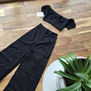 FREE PEOPLE two piece black leopard pant set NWT
